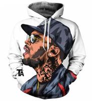 chris brown hoodie al por mayor-Nueva Moda Parejas Hombres Mujeres Unisex Personajes de Dibujos Animados Cantante Chris Brown 3D Imprimir Sudaderas con Capucha Suéter Chaqueta Pullover Top S-5XL