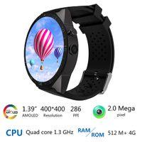 Wholesale Wifi Sim Watch - kingwear Kw88 android 5.1 OS Smart watch 1.39 inch mtk6580 SmartWatch phone support 3G wifi nano SIM WCDMA Heart Rate