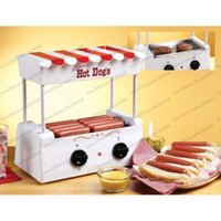 Wholesale Nostalgic Hot Dog Rotisserie Grill Griller NonStick Roller Bun Warmer Party MYY
