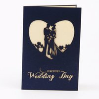 Wholesale Print Love Cards - Foldable Wedding Invitations Love Shape Card Cards Bride Day with Envelope Greeting 3D Hollow Red Color Printed Paper Decoration Invitation
