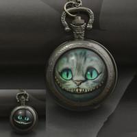 Wholesale Convex Lens Glasses - fashion alice in wonderland quartz cat pocket watch necklace woman fob watches black round convex lens glass picture lady 2016