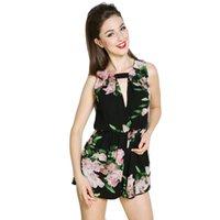 Wholesale Chiffon Short Cute Jumpsuits - 2017 New Open Back Chiffon Flower Rompers Women Short Jumpsuit Summer Cute Female Overalls Playsuits