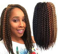 Wholesale braiding braid hairstyles - Free Shipping Box Braids Hair Crochet 12'' Crochet Hair Extensions Synthetic Crochet Braid Senegalese Twist Braid Hair Jumbo Hairstyles
