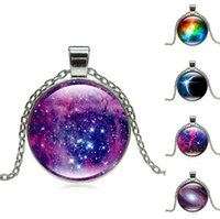 Wholesale Silver Star Charm Pieces - Brand new Galaxy Star Time Gemstone Necklace Silver Glass Pendant Necklace WFN376 (with chain) mix order 20 pieces a lot