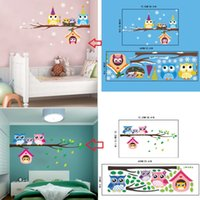 Wholesale decal baby room owl - AW3017AB Christmas Snowflake Owls Printed Wall Stickers Home Decor Branches Bird Owls with Xmas Hats Decal for Baby Kids Shop Window
