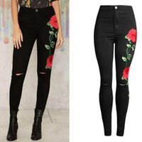 Wholesale European Style Woman Jeans - 2017 New Arrivals Women High Waist Rose Embroidery Pencil Denim Skinny Jeans Pants Slim Trousers Black 6 Size