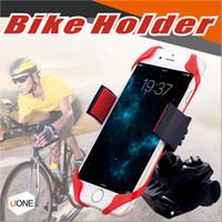 suporte de celular de borracha venda por atacado-Universal Ajustável Bicicleta Suporte de Telefone Celular Cradle Stand Motocicleta Montagem de telefone GPS de Rotação de 360 Graus Com Pulseira de Borracha