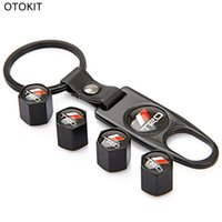 Wholesale Toyota Trd Logo - 1 Set TRD Logo Black Car Tyre Valve Cover Tire Air Dust Stem Caps With Key chain For Toyota Corolla Yaris Prius Camry