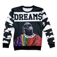 camisetas tupac al por mayor-Nuevos hombres de moda / Biggie smalls para mujer / Tupac / Alice / sudadera con estampado de calavera con estampado 3d para hombre sudaderas con capucha camisa de hip hop 17310