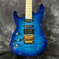 Wholesale Quilted Mahogany - Human China Custom Shop Blue Quilted Finish Jackson Electric Guitar 6 String Mahogany Body For Sale