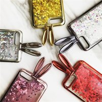 Glitter Dynamic Quicksand Electroplated Rabbit Ears Protection Shell для сотового телефона для Ip6 / Ip6 Plus Ip7 / Ip7 Plus Phone Case