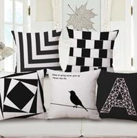 travesseiros de pássaro branco preto venda por atacado-Capa de almofada geométrica moderna preto e branco sofá cama cadeira 45 cm algodão linho fronha pássaro cojines