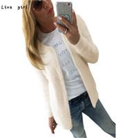 ingrosso nuovo cardigan di base-All'ingrosso-New Fashion Winter Warm Coat Women Fashion Solid Slim Cappotto maglione Cardigan femminile Soft Chic Chic Feminino Basic Casaco N15