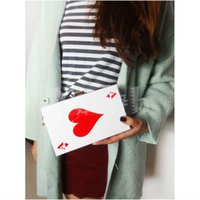 Wholesale Lovely Heart Bags - Poker Bag Famous Acrylic Evening Bags Suprem Quality Stylish Lovely Heart Clutch Cute Handbag Perfume Purse - RC031