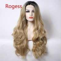 Natural Hairline Bouncy Layered Ombre Honey Loiro Castanho Curto Roots Bodywave Resistente ao calor Sintético Cabelo Lace Front Perucas