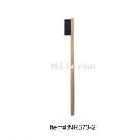 Wholesale Home Handle - Black soft bristles flat bamboo handle adult toothbrush