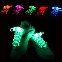 Wholesale Neon Stick Luminous - 30pcs(15 pairs) 2017 Led Light Luminous Shoelaces Glowing Shoe laces Glow Stick Flashing Colored Neon Shoelace chaussures part dance led