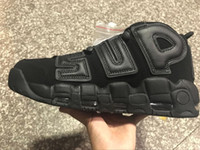 Wholesale High Boot For Men - 2017 Newest release air more uptempo SUPTEMPO mid gold black for Men's Basketball boots Scottie Pippen Shoes High Quality sneakers