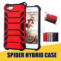ingrosso casi di appendere iphone-Per iPhone X Luxury Cases 2 in 1 Hybrid Spider Design con guscio d'appeso Cover per telefono Shell per 8 Plus Galaxy Note8 S8