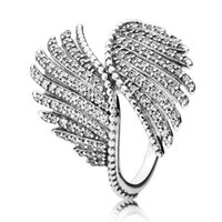 Wholesale 925 Silver Feather Ring - Authentic 925 Sterling Silver Ring Vintage Majestic Feathers With Crystal Ring For Women compatible with Pandora jewelry HRC0293