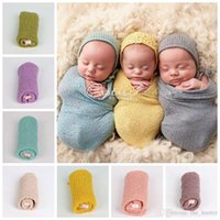 Wholesale Wholesale Knit Stretch Scarf - Baby Photography Props Wrap Swaddle Newborn Stretch Knit Wrap Blanket Soft Bedding Sleep Sacks Scarves Baby Newborn Photo Props F247