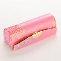 mini espelhos cosméticos venda por atacado-Atacado-1PCS Mini bordados Flower Design Batom Case Box com Espelho Ferrolho Cosméticos Bolsas Coin Batom Holder