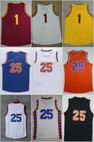 Wholesale Black Gold Fans - 2017 New #1 25 Derrick Rose Man Jerseys Throwback Cheap Jersey For Sport Fans All Stitched Team Blue Color Orange White With Name Size 44-56