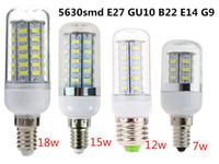 Wholesale E14 18w - 7W 12W 15W 18W LED Non-dimmable Corn Lamp Bulb 5730 SMD E27 GU10 B22 E14 G9 led bulbs