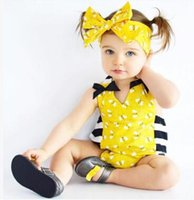 Wholesale Bee Headbands - Baby Onesies with Headband 2017 Summer Bee Printed Romper Jumpsuit Baby Clothes One Piece Clothing Toddler Infant Romper Kids Clothing 5