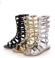 Wholesale Ems Baby - Girls Sandals Hollow Weave Star Flat Sandal Shoes High-boot Campagus baby New Fashion Gladiator Shoe 26-33Yard Golden Silver Black EMS A6887
