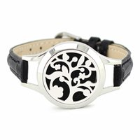 Wholesale Stainless Steel Leather Wrap Bracelet - 30mm stainless steel screwed-off essential oil diffuser wrap bracelet locket with genuine leather band (free felt pads)