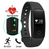 Wholesale Heart Bangle Watches - ID107 Smart Bracelet Watch Heart Rate Monitor Wristband Bangle Smartband Fitness Tracker Sports Wristbands For Android iOS Smartphone