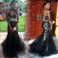 Wholesale Country Girl Sexy - 2017 African Prom Dresses Spaghetti Straps Black Girl Lace Tulle Long Mermaid Vintage Country Evening Party Gowns Custom Made