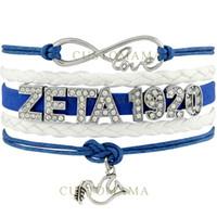 Wholesale Infinity Doves - Custom-Infinity Love Rhinestone ZETA 1920 Dove Charm Bracelet Blue White Wax Suede & Leather Bracelet Custom Any Themes