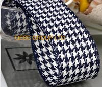 Wholesale Blue 38mm Ribbon - NEW 38MM DARK BLUE WHT Houndstooth hemp cotton ribbon Plaid ribbon for fascinator hair accessory dress hat bag decoration belt