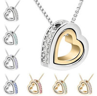 Wholesale jewellery for sale - Heart Crystal Necklaces Pendants K Gold And Silver Plated Jewellery Jewerly Necklace Women Fashion Jewelry
