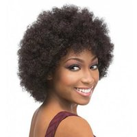Wholesale Black Curly Hair Cuts - hot selling short cut kinky curly wig Simulation human hair bob short cut curly full wig in stock free shipping