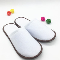 Wholesale Disposable Flip Flop Slipper - Free shipping 20 pairs Thickening Hotel Disposable Cloth slippers Plush slippers Family hotel disposable slippers