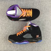 Wholesale Mens Purple Canvas Shoes - hot sale retro 5 black purple orange V 5s mens basketball shoes online wholesale free shipping top quality sale