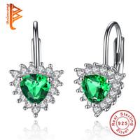 Wholesale Earrings Heart Hoops - BELAWANG Luxury 925 Sterling Silver Earrings New Style Green Austria Crystal & Clear CZ Heart Stud Earrings For Women Valentines Gift