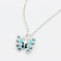 Wholesale Butterfly Necklace Purple - Butterfly Pendant Necklace with 8 beads for Women Jewelry Wedding Party Fashion Accessory Alloy Charms Purple Red Wholesale
