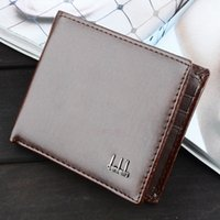 Vintage Square Mens Carteiras Bifold Brown Preto PU Leather Open Nota Compartimento Compartimento Interior Photo Holder Titular