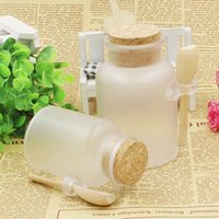 Wholesale Empty Jar Bottle - 100ml Empty Powder Plastic Bottle 100G Facial Mask Container Bath Salt Jar Cosmetic Refillable Bottle with Wood Cork & Wooden Spoon ZA1744
