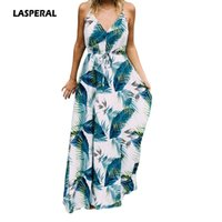 Wholesale Turquoise S Dress - LASPERAL 2017 Long Dresses Boho Sexy Ladies Turquoise Tropical Leaf Print Sexy V Neck Maxi Beach Summer Dress Vestidos Mujer