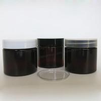 ingrosso bottiglie di animali marroni-Fai da te 50g Amber PET Cream Bottle, 50cc Brown Packaging cosmetico con coperchi in plastica bianco nero trasparente