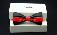 Wholesale Gold Bow Ties For Men - Fashion Pu Leather Men Patchwork Bow Tie Female Necktie Red Gold Silver Adult Cravate Homme Wedding Party Bow Ties For Men