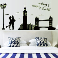 Wholesale City Wall Stickers - City Dream Lovers Diy Wall Stickers London Bridge Glow In The Dark Creative Wall Decals Luminous Pvc Wall Stickers