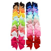 Wholesale Hairbows Clips - 20pcs lot 3 Inch Boutique Baby Girls Barrettes Ribbon Bows Clips Hairpin Girl's Hairbows Boutique Hair Clip Headware Kids Hair Accessories