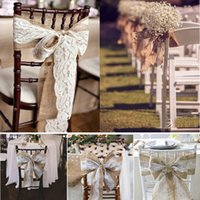 240 x 15cm Lace Bowknot Burlap Cadeira Sashes Natural Hesse Jute Linho Rustic Chair Cover Tie Bowknot para Wedding Chair Decor DIY Crafts