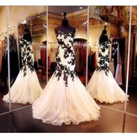 neue stil kleider bilder großhandel-Meerjungfrau Abendkleid Real Image 2019 New Style Tüll Formal Gown Black Appliques US2-26W ++ Maßgeschneiderte Low Back Classic Sweetheart